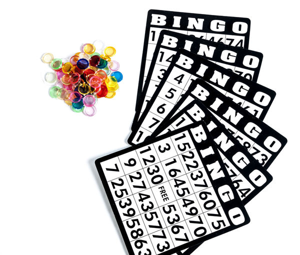 Numbers Only Bingo Cards Close-up Communication Gamble Gambling Chip Multi Colored No People Pegs Text White Background