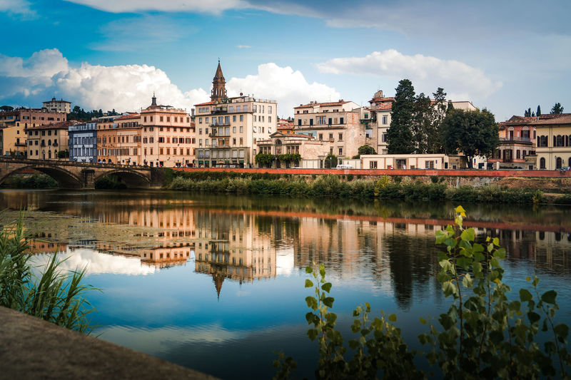 Reflection on Arno Building Exterior Built Structure Architecture Water Sky Reflection Cloud - Sky Building Nature City Waterfront Residential District No People Day Lake Tree Plant Outdoors Reflection River Arno  Florence Lungarno Firenze Italy