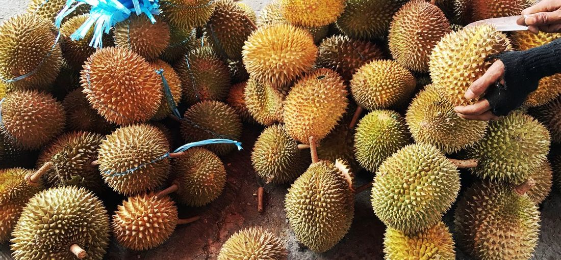 Fruits Durians Selling On Road Human Hand Holding Knife Sweet Love It