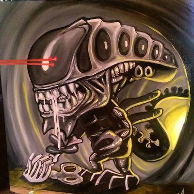 Alien Painting Check This Out Tattooartist  Fullcustomtattoo Mrttattoo Torstenmatthes