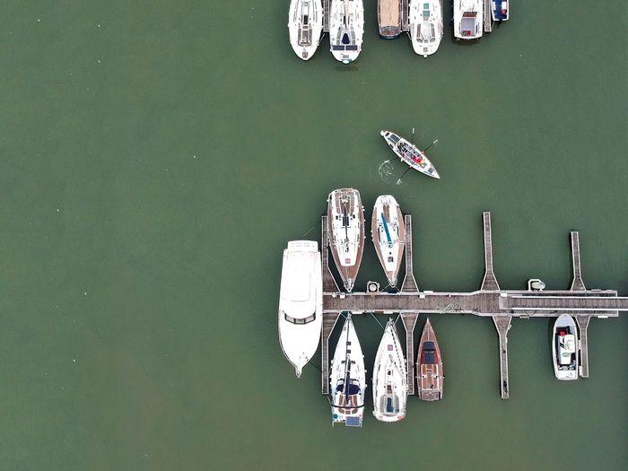 High angle view of ship moored on river