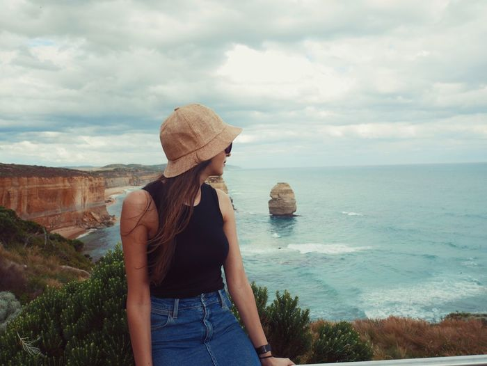 The view - The Great Ocean Road Moments Real People One Person Cloud - Sky Nature Standing Sea Leisure Activity Women Day Outdoors Water Beauty In Nature Sky Lifestyles Young Adult Wave Travel Destinations Horizon Over Water Nature Tranquility Live For The Story