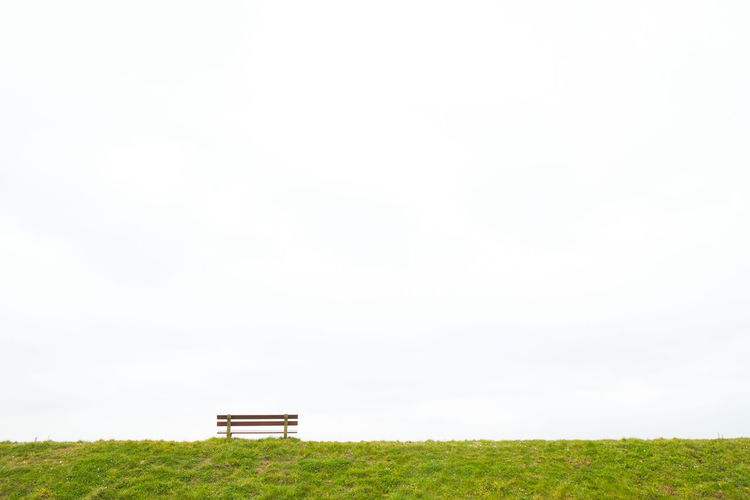 A single empty wooden bench on the horizon above a grass field against a large grey clouded sky depicting loneliness, grieve, being alone, sadness Grass Copy Space Plant Landscape Environment Field Sky Nature Land Green Color No People Tranquility Plain Day Horizon Meadow Tranquil Scene Horizon Over Land Rural Scene Beauty In Nature Outdoors