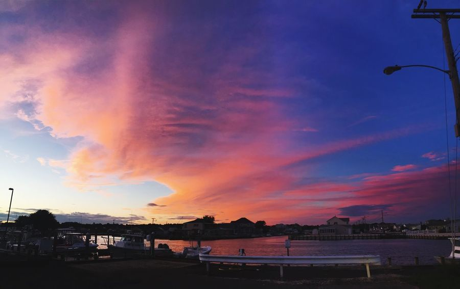 Cotton candy sky 🌅 Sunset Sky Outdoors Water Beauty In Nature Scenics Barnegat Bay Peaceful Marina Bayviews Bay Prettysky Cottoncandy