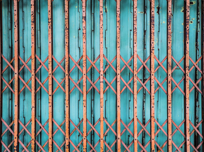 Old Vibrant Sliding Steel Gate Gate Sliding Architecture Barrier Blue Boundary Built Structure Design Fence Green Color Iron Metal Pattern Protection Safety Security Steel Turquoise Colored