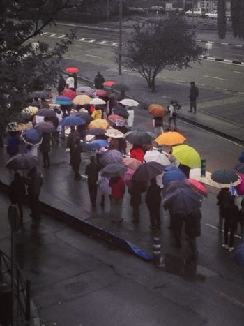 E Group Of People Crowd Large Group Of People Real People City Street Men Umbrella Rain