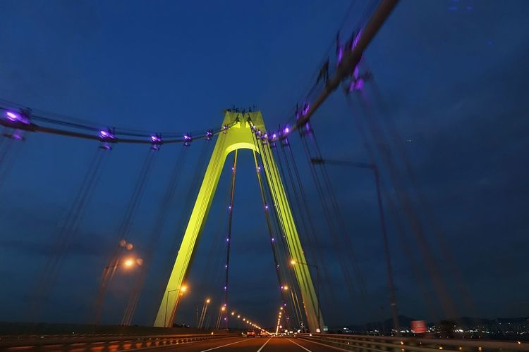 Korea Photos Bridge In The Car The Drive Early Dawn Bridge - Man Made Structure Travel Low Angle View Long Exposure City Outdoors Sky No People Amusement Park Architecture Illuminated Lights Wire Streamzoofamily Streamzoofamily Friends The Street Photographer - 2017 EyeEm Awards The Great Outdoors - 2017 EyeEm Awards The Architect - 2017 EyeEm Awards