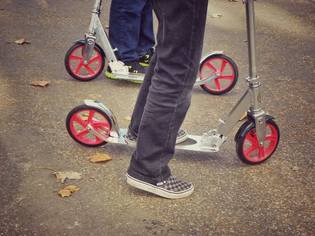 Scooters Children Vehicle Trend Tranport Hobby Trainers Legs Kids Playing Riding Scooter Road Street Child Recreation