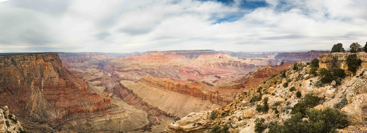 Panoramic Shot Of Rocky Mountains Against Sky At Grand Canyon