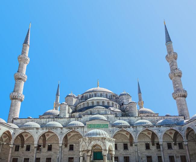 Blue Mosque in Istanbul, Turkey Blue Mosque Istanbul Day Architecture Landmark Building Exterior Temple Travel Tourism Travel Destinations Famous Place City Urban Street Asian  Religion Outdoors Spirituality Turkey Tower Built Structure Ottoman Historic Art