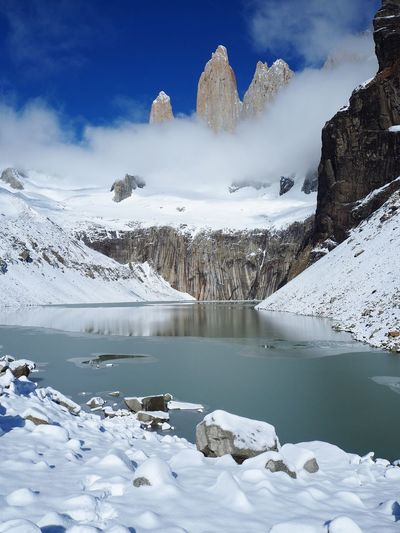 The majestic Torres Adventure Active Travelworld Patagonia Chile Nationalpark Southamerica Trekking Outdoors Snow Beauty In Nature Scenics - Nature Tranquil Scene Cloud - Sky Ice Frozen Nature Tranquility Snowcapped Mountain Lake