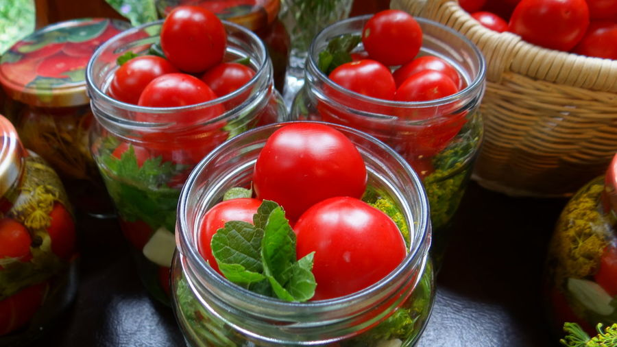 Close-up of tomatoes in basket on table