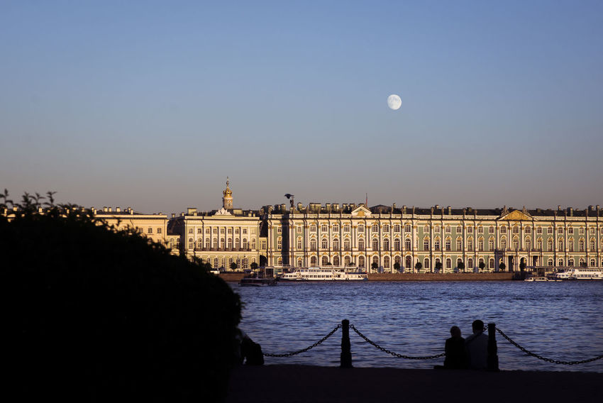 Sunset by the Hermitage Moon Russia Saint Petersburg Architecture Arts Culture And Entertainment Building Exterior Built Structure City Ermitage Hermitage History Museum Palace River Sky Sunset Tourism Travel Travel Destinations Water Winter Palace