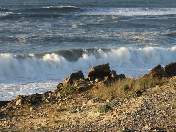 Beach Coastal Feature Coastline Day Motion Nature No People Outdoors Power In Nature Rock - Object Rocky Coastline Sea Surf Water Wave
