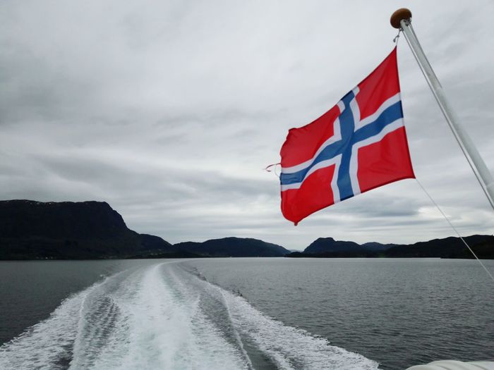 Norway Bergen Flag Water Cloud - Sky Mountain No People Day Outdoors Sky Nature