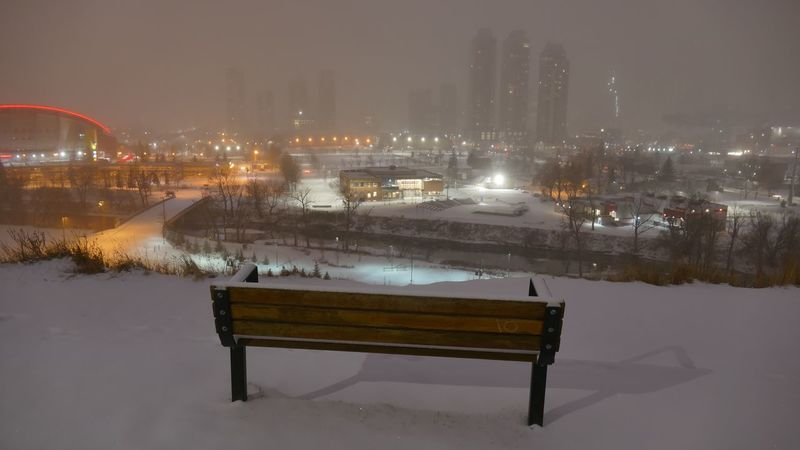 No People. Towers Unclear Fog Cloud Hillside View Hillside Bench Winter Cold Temperature Snow Weather No People Built Structure Night Outdoors Illuminated Sky City Cityscape Beauty In Nature