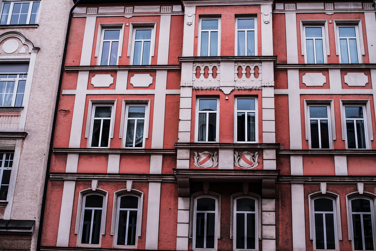 architecture, window, building exterior, built structure, red, day, outdoors, no people, full frame, city