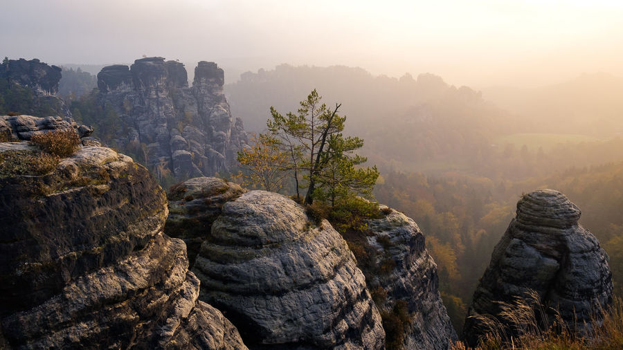 EyeEmNewHere Beauty In Nature Day Fog Landscape Mountain Nature No People Outdoors Rock - Object Scenics Sky Tranquil Scene Tranquility Tree