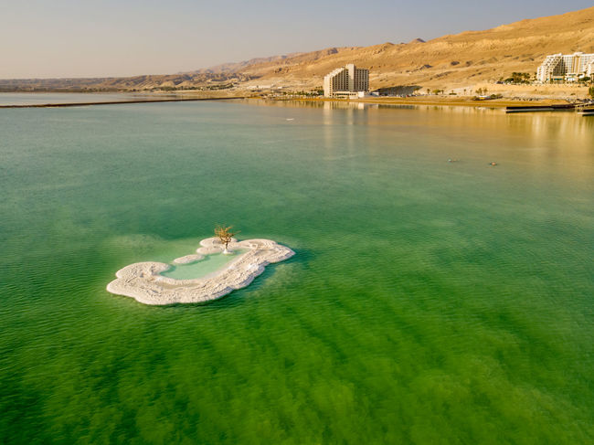 Dead Sea drone shot Deadsea Deadsea_israel Day Sky Outdoors Waterfront Nature Water No People Non-urban Scene Island Mountain Hotel First Eyeem Photo