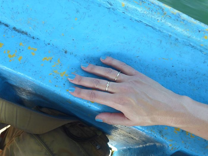 Surely, I'd never hop on a boat without making sure my nail polish fits. Human Hand Hand Adult Body Part People Real People Ring Leisure Activity Women Day Jewelry Water Human Finger Blue Nature Close-up Finger Nailpolish Camouflage Turquoise Colored Turquoise Boat Nail Polish Fjällräven Ice Blue