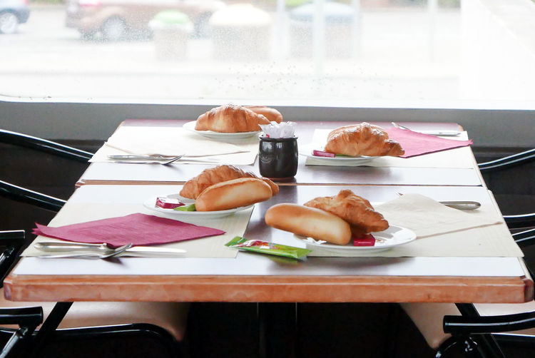 Breakfast Day Food Freshness Meal Ready-to-eat Serving Size Table Near Window Croissant Croissants France Restaurant Bread Table Set