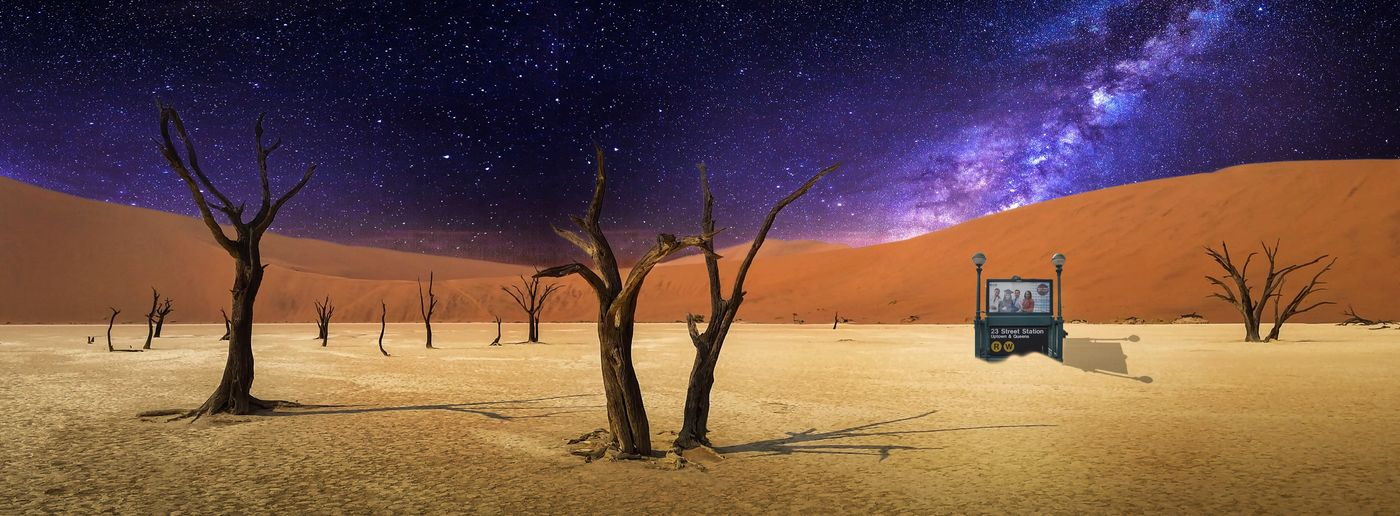 Wrong stop Subway Station Composite Image Land Sky Scenics - Nature Night Nature Beauty In Nature Sand Tree Star - Space Space Star Field