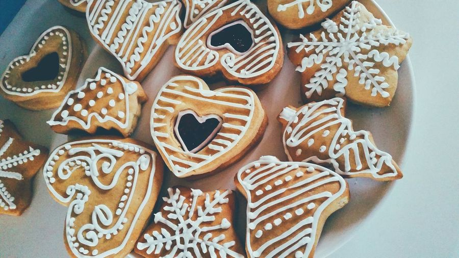 High Angle View Of Various Shape Gingerbread Cookies