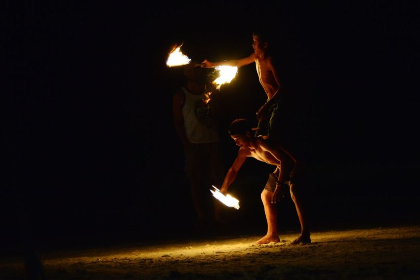 Colorful Family Vacation Night Train River Kwai Cemeta Thai Boxing  Thailand Fire Dancers