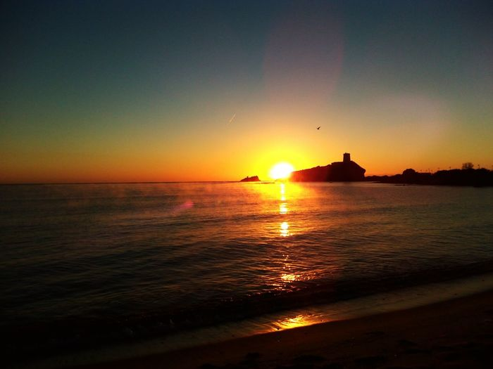 Alba Pula Sardegna Water Sea Nautical Vessel Sunset Beach Silhouette Sun Reflection Wave Sky