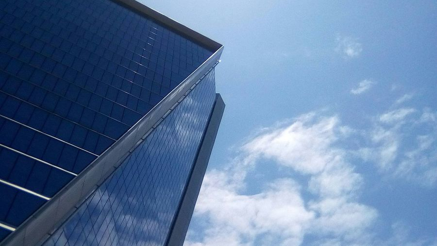 Architecture built structure sky cloud - sky no people business finance and industry day Low angle view outdoors skyscraper building exterior Modern City close-up Blue color blue sky blue azul EyeEm Ready   Colour Your Horizn Capture Tomorrow The Art Of Street Photography