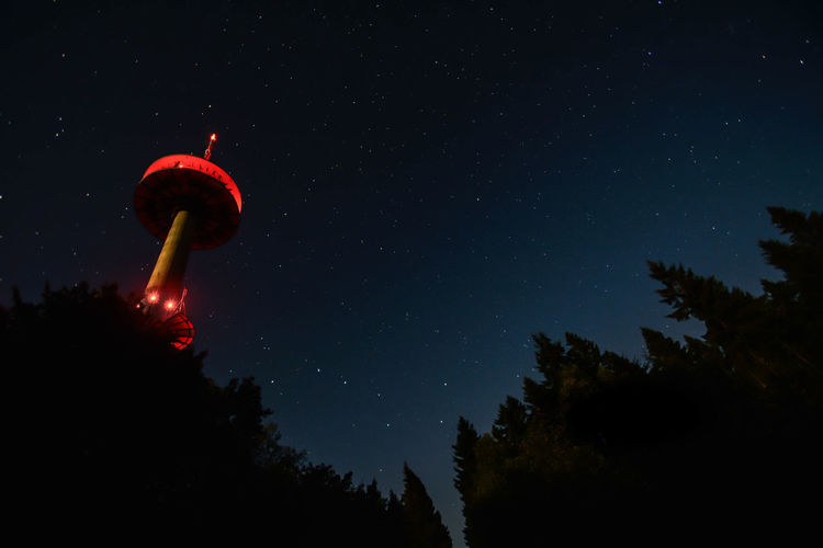 Radio Tower Red Astronomy Illuminated Nature Night No People Outdoors Red Lights Scenics Silhouette Sky Space Exploration Star - Space Tower Tranquil Scene Tree