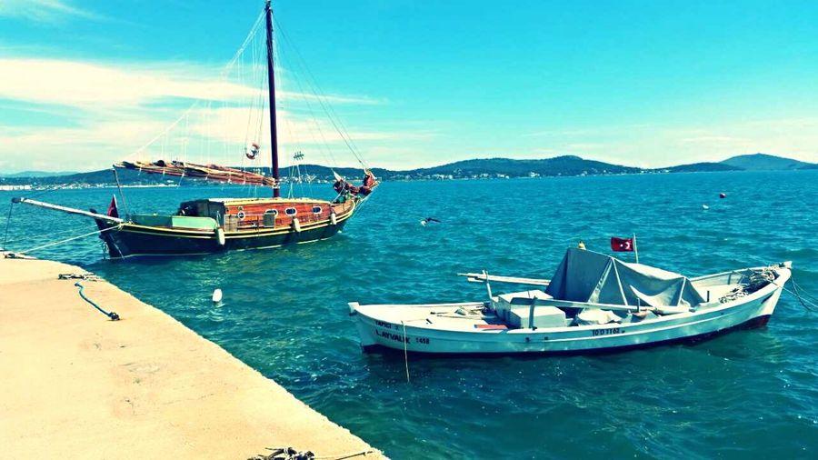 Fishingboat Sunny Day Sea And Sky Cunda Island Trip Funny