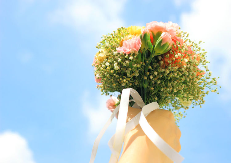 Flower Flowering Plant Plant Sky Nature Holding Low Angle View Cloud - Sky Day Beauty In Nature Freshness One Person Sunlight Vulnerability  Real People Fragility Outdoors Flower Arrangement Bouquet Technology Flower Head Bride Bride And Groom Bridesmaid Wedding