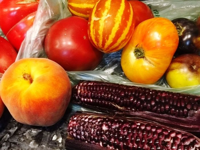 bountiful harvest Tomatoes Tomatoes🍅🍅 Autumn🍁🍁🍁 Fall Colors October Fall Beauty Autumn colors Peaches Corn Purple Vegetables & Fruits Vegetables Heirlooms Heirloom Tomatoes Pumpkin Fruit Vegetable Close-up Food And Drink Squash - Vegetable Juicy Ripe