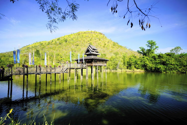 Thaistyle Thai Architecture Wooden Pavillion Lake Cottage Reflection Water Outdoors Lake Day Sky