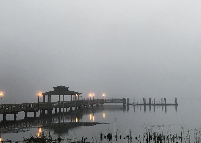 Public dock at the town park lit by street lamps in the morning fog. Dock Fog Foggy Morning Mist Street Lamp Pier St Johns River River Reflection Water Town Park Glass