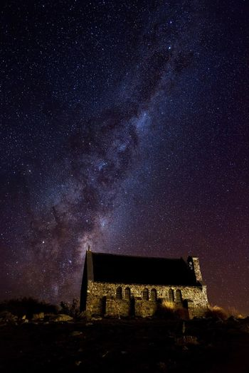 Popular spot at Lake Tekapo, within Dark sky reserve in New Zealand. Over 20 people taking photos of Milkyway against historical church at night, outdoor degree minus 4 c degree. But totally worths it Night Star - Space History Architecture Built Structure Astronomy Sky Galaxy Star Field Building Exterior Low Angle View No People Constellation Nature Milky Way Beauty In Nature Outdoors Starry Ancient Civilization New Zealand Lake Tekapo Lake Tekapo, New Zealand The Great Outdoors - 2018 EyeEm Awards