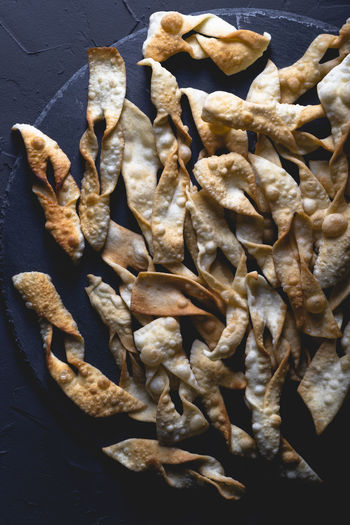 High angle view of dried food on table