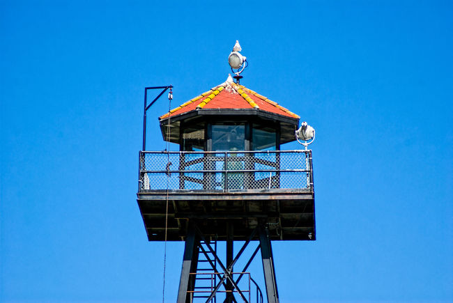 Guard Tower - Alcatraz Architecture Bird Blue Built Structure Clear Sky Day Jail Low Angle View No People Outdoors Penitentiary Prison Sky
