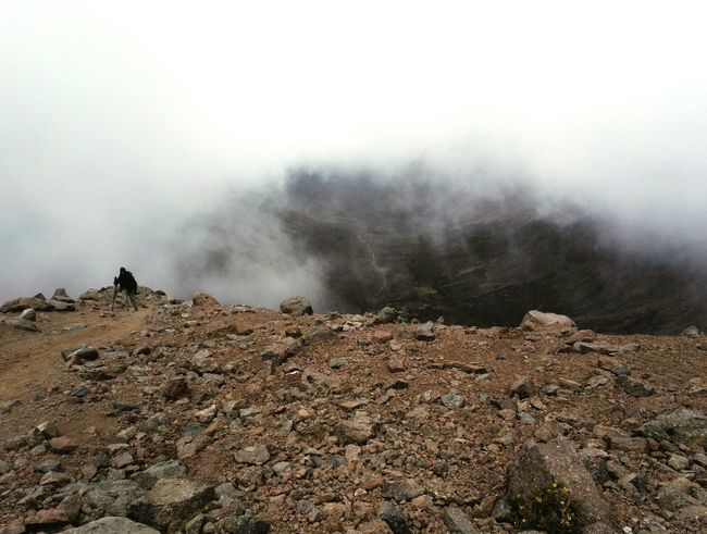 Miles Away Ascending Climbing A Mountain Green Roofs Way Below Up In The Clouds Outdoors Fog Day Up Mt. Kenya