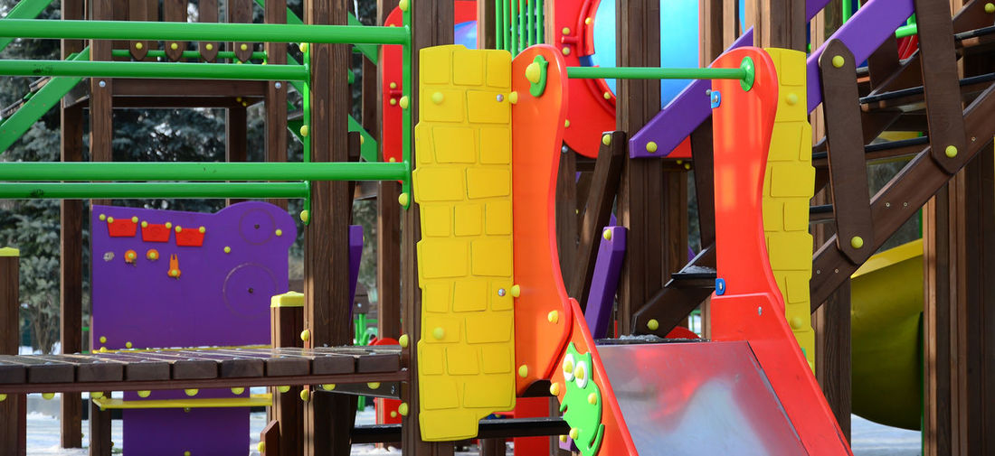 View of multi colored playground