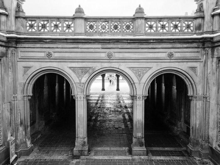 Architectural columns in courtyard