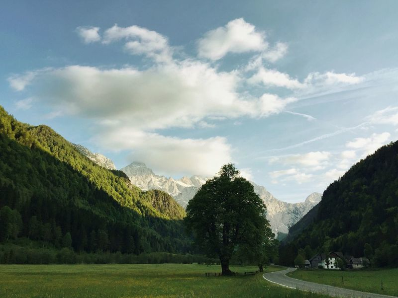 Sunset at Logar Valley, Slovenia, 2017. Logarska Dolina Logar Valley Slovenia Sunset Tree Mountain Beauty In Nature Alps Tranquility Nature Scenics Valley Landscape Tree Cloud - Sky Mountain Range Outdoors Grass No People House Idyllic The Great Outdoors - 2017 EyeEm Awards