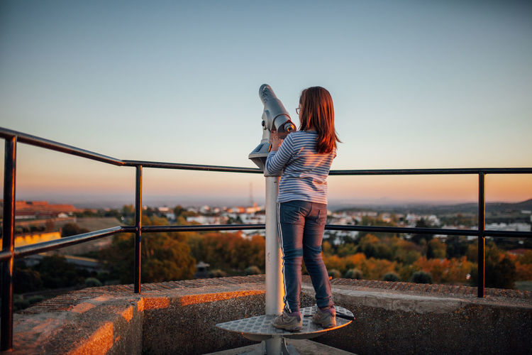 Elvas Gazebo View View From The Top Viewpoints Views World Heritage Alentejo City Clear Sky Day Full Length Girl Leisure Activity Lifestyles Railing Sky Sunset Telescope Telescope View View Into Land Viewpoint Women Worldheritage Be. Ready. Summer Road Tripping