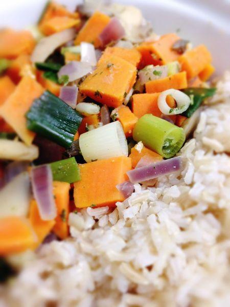 Rice Vegetables Sweet Potatoes Green Onion Vegan Food Vegetarian Food Dinner 365 Photos In 2015 Closeup