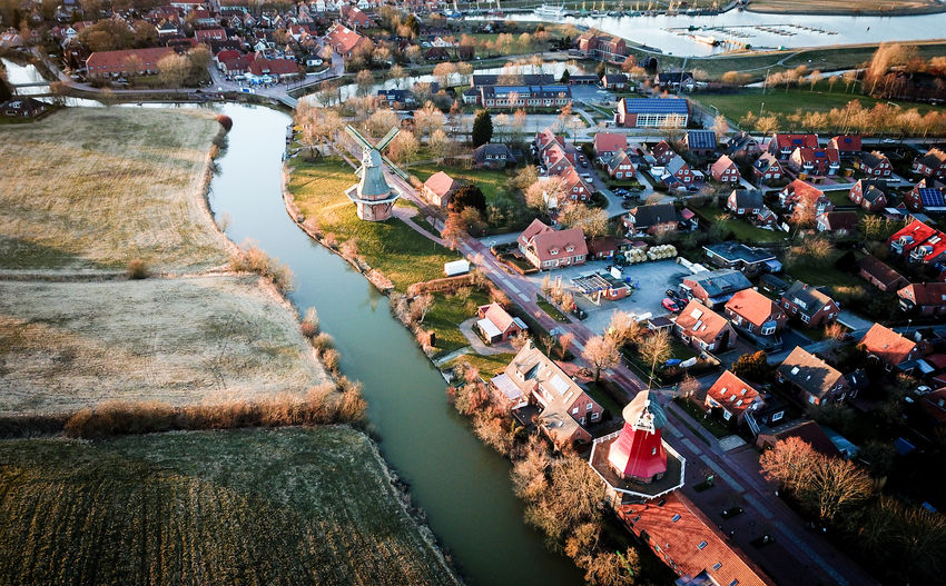 High Angle View Architecture Nature Environment Tree City Plant River Day No People Sunset Greetsiel Windmühle Windmill Sea Colours