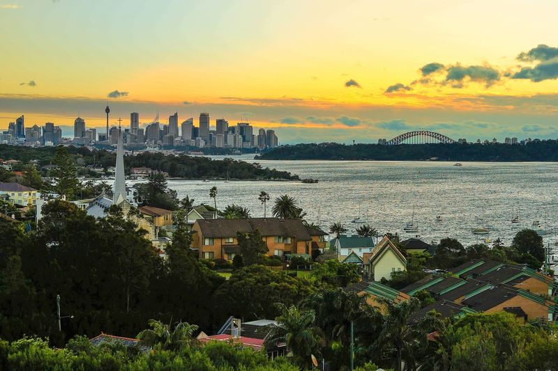 Sydney Cityscape from Watsons Bay Sydney Harbour Bridge Architecture Beauty In Nature Building Building Exterior Built Structure City Cityscape High Angle View Nature No People Orange Color Outdoors Plant Residential District Sky Sunset Sydney TOWNSCAPE Tree Water Watsons Bay