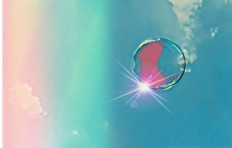 Bubble Rainbow Soap Bubbles Bubbles Bubble No People Nature Cloud - Sky Sky Reflection Blue Day Outdoors Lens Flare Beauty In Nature Pink Color Sunbeam Digital Composite Fragility EyeEmNewHere