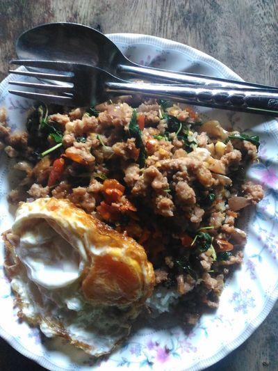 ข้าวผักกะเพราไข่ดาว Egg Eggs Food Foods Foodthailand Porkchops Rice Sweetbasil ข้าวผักกะเพรา อาหาร