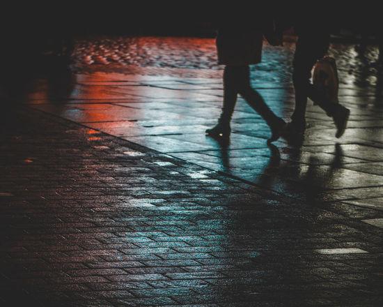 Sidewalk Low Section Street Walking Human Leg Real People City Shadow People Women Two People Night Outdoors Footpath Silhouette Rain Sidewalk Couple Oldtown Warsaw Plant Moody Sky Rainy Days Reflection Moodyphotography